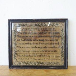 イギリス アンティーク 刺繍サンプラー フレーム入り 1810年