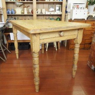 イギリス オールドパイン 小ぶりなファーマーズテーブル 120cm