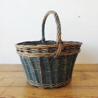 イギリス ヴィンテージ 天然素材のバスケット ブルーペイント