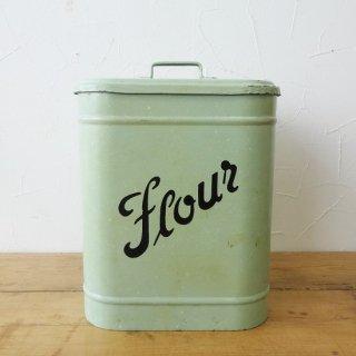 イギリス ヴィンテージ フラワー缶 グリーン 霜降り 状態良