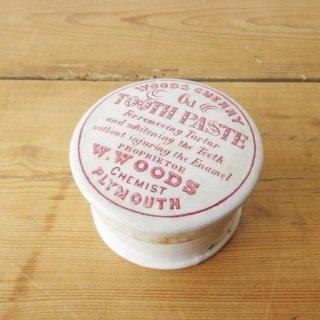 イギリス アンティーク W.WOODS CHERRY TOOTH PASTE 歯磨き粉 陶器 赤文字 希少