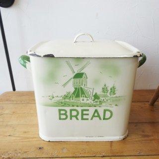 イギリス アンティーク ホーローブレッド缶 クリーム&グリーン 風車