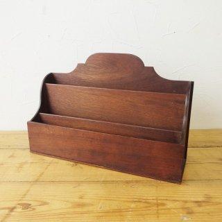 イギリス ヴィンテージ 木製レターラック ダークブラウン