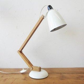 ヴィンテージ マックランプ ホワイト 木製アーム ソケット交換済 LED電球使用可 2019/8/26