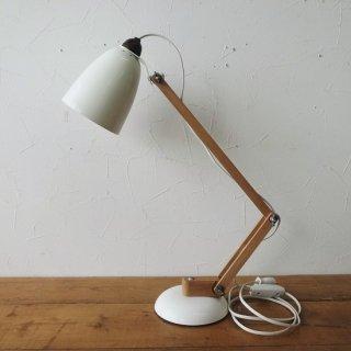 ヴィンテージ マックランプ ホワイト ブラウンソケット 木製アーム ソケット交換済 LED電球使用可 2019/9/6