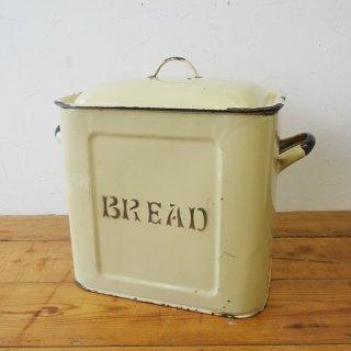 イギリス ヴィンテージ ホーローブレッド缶 花文字 レア色 カスタード&ブラウン