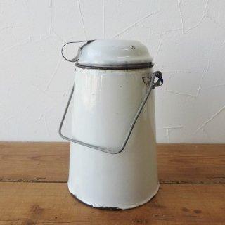 イギリス ヴィンテージ ホーロー ミルクキャリーポット ホワイト 黒リム 17cm