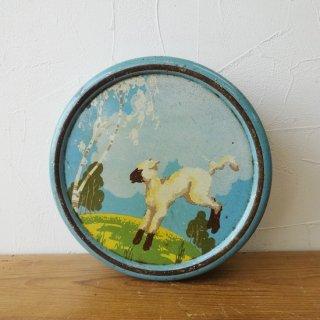 イギリス ヴィンテージ ブリキ缶 羊の絵柄 円形