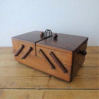 イギリス ヴィンテージ 木製ソーイングボックス 2段 スライド式