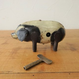 イギリス ヴィンテージ ブリキのおもちゃ ブタ ゼンマイ式 コレクターズアイテム 動作良好