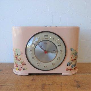 イギリス ヴィンテージ 淡いピンクの置き時計 子供部屋 動物ステッカー クォーツ交換済 1960年代