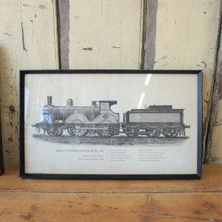 イギリス ヴィンテージ 精密な手描きイラスト 機関車 額 フレーム インダストリアルイラストレーション
