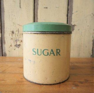 イギリス ヴィンテージ タラ社のブリキ製キャニスター 缶 クリーム&グリーン SUGAR(大)