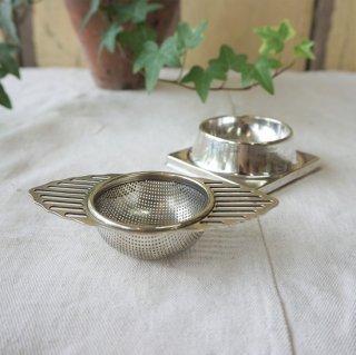 イギリス ヴィンテージ シルバープレート ティーストレイナー 受け皿付き 茶漉し