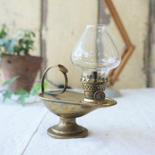 イギリス アンティーク 真鍮製 オイルランプ クリアガラス火屋