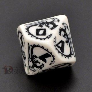 D10単品・ドラゴン【ホワイト&ブラックダイス】 10面×1個