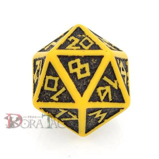 D20単品・ドワーフ【イエロー&ブラックダイス】 20面×1個