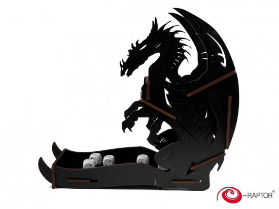 e-Raptor(イーラプター) 木製ダイスタワー/ブラックドラゴン