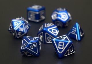 サイコロ AKO多面体ダイス 金属製 ブルー 7個1セット