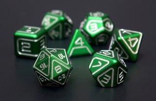 サイコロ AKO多面体ダイス 金属製 グリーン 7個1セット