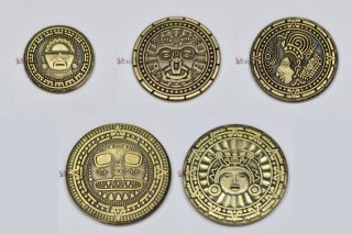 インカゴールド5枚セット◆インカ メタルコイン ファンタジーコイン レガシーゲーム用コイン
