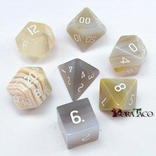 灰色メノウ 天然石ハンドメイド 多面体ダイス7個セット