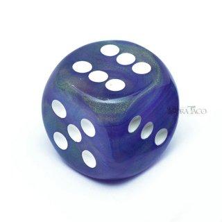 30mm 6面サイコロ(オーロラ/パープル&ホワイト) チェセックス/Chessex