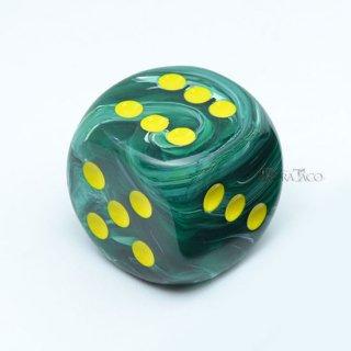 30mm 6面サイコロ(ボルテックス/マラカイトグリーン&イエロー) チェセックス/Chessex