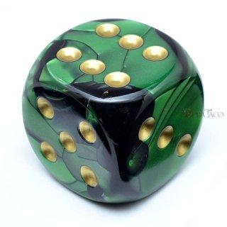 50mm 6面サイコロ(ジェミニ/ブラックグリーン&ゴールド) チェセックス/Chessex