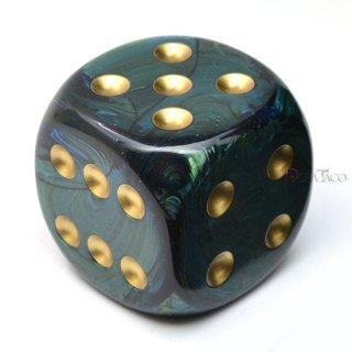 50mm 6面サイコロ(スカラブ/ジェイド&ゴールド) チェセックス/Chessex
