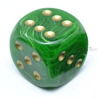 50mm 6面サイコロ(ボルテックス/グリーン&ゴールド) チェセックス/Chessex