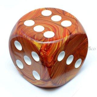 50mm 6面サイコロ(ラストラス/ブロンズ&ホワイト) チェセックス/Chessex