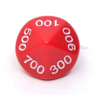 000〜900の10面サイコロ単品 レッド