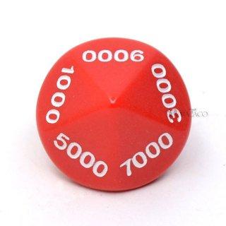 0000〜9000の10面サイコロ単品 レッド