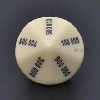 000000〜900000の10面サイコロ単品 ベージュ