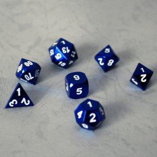 理由あり◆ブルーメタリック多面体セット【ブルー&ホワイトダイス 7個】Blue&White Dice Set METEOR