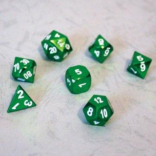 理由あり◆グリーンメタリック多面体セット【グリーン&ホワイトダイス 7個】Green&White Dice Set METEOR