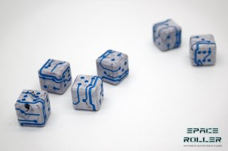 1個〜6個◆スペースローラーダイス MK2【ブルー/マーブル】6個入り1セット SpaceRollerDice MK2
