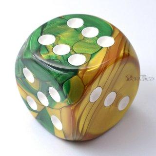 50mm 6面サイコロ(ジェミニ/ゴールドグリーン&ホワイト) チェセックス/Chessex