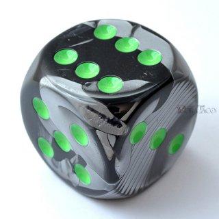 50mm 6面サイコロ(ジェミニ/ブラックグレイ&グリーン) チェセックス/Chessex