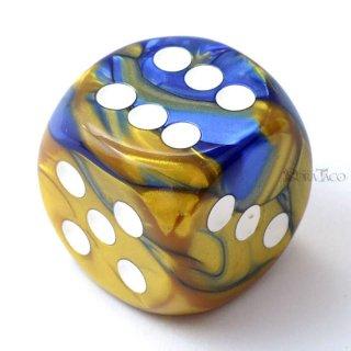30mm 6面サイコロ(ジェミニ/ブルーゴールド&ホワイト) チェセックス/Chessex
