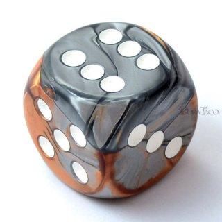 30mm 6面サイコロ(ジェミニ/コッパースチール&ホワイト) チェセックス/Chessex