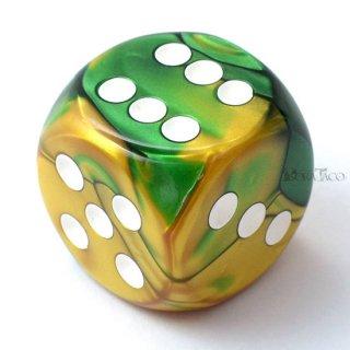30mm 6面サイコロ(ジェミニ/ゴールドグリーン&ホワイト) チェセックス/Chessex