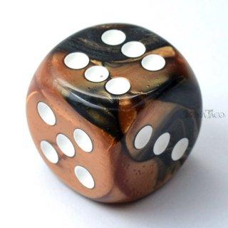 30mm 6面サイコロ(ジェミニ/ブラックコッパー&ホワイト) チェセックス/Chessex