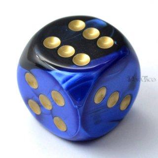 30mm 6面サイコロ(ジェミニ/ブラックブルー&ゴールド) チェセックス/Chessex