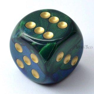 30mm 6面サイコロ(ジェミニ/ブルーグリーン&ゴールド) チェセックス/Chessex