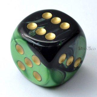 30mm 6面サイコロ(ジェミニ/ブラックグリーン&ゴールド) チェセックス/Chessex