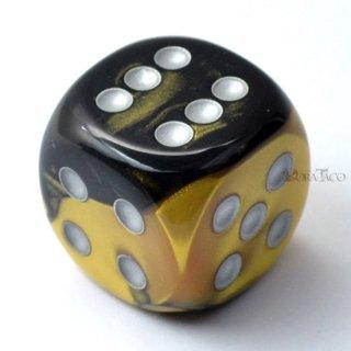 30mm 6面サイコロ(ジェミニ/ブラックゴーレム&シルバー) チェセックス/Chessex