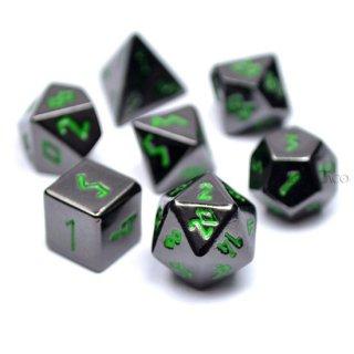 ミニダイス メタル7個セット【ブラック&グリーン】