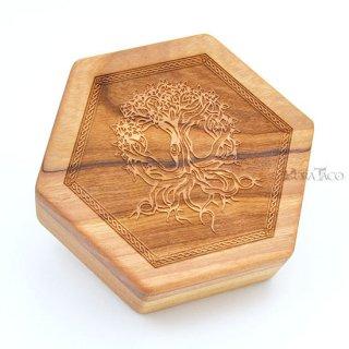 六角形ダイスボックス【ユグドラシル/チェリー木材】